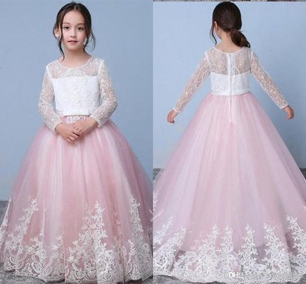 Pink Lace Long Sleeve Flower Girl Dresses 2019 Ball Gown Jewel Hollow Applique Toddler Party Dress For Wedding Girls Pageant Dress 2019