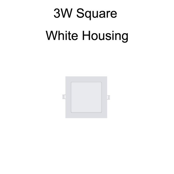 3W Square White Housing