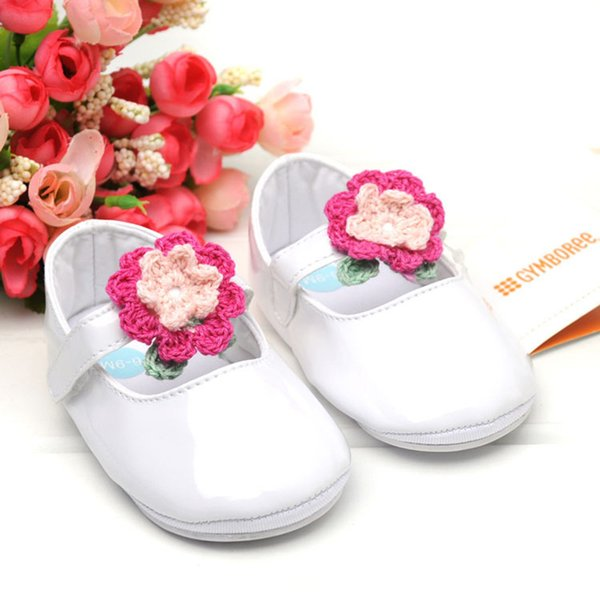 Baby Girl Anti-Slip Shoes With Knitted Flower Design Casual Summer Walking Shoes Toddler Soft Soled First Walkers for 6-18 M