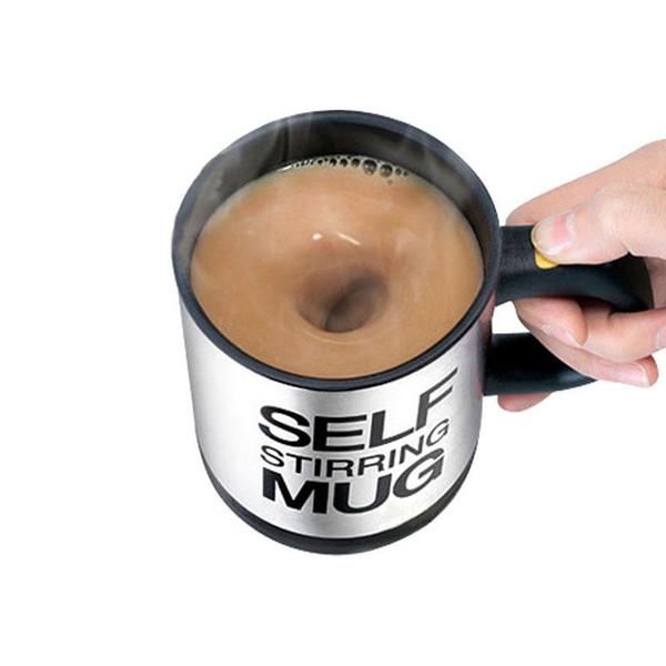 Jus à boisson à agitation automatique Bouteilles 400ml Automatique Électrique Paresseux Agitation Tasse Tasse Café Lait En Acier Inoxydable Tasse À Mélanger Tasse BH1388 TQQ