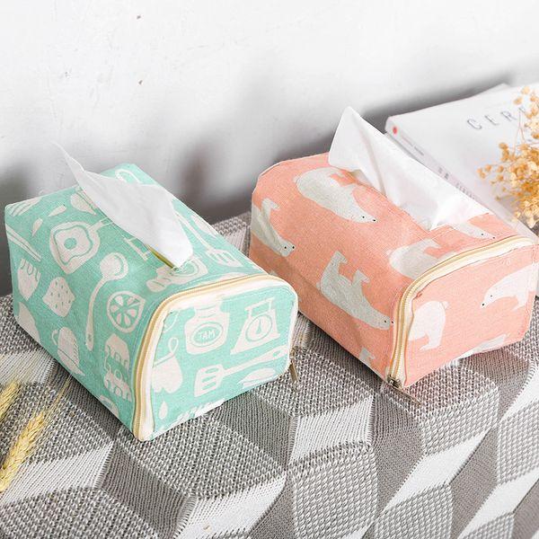 Cotton and Linen Living Room Car Tissue Box Bathroom Waterproof Moisture-proof Multi-purpose Paper Towel Pumping