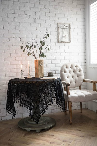 Ins Hot Table Cloth with Cotton Lace Material Proof Chic Table Cloths for Home Decor Free Shipping Black White Available