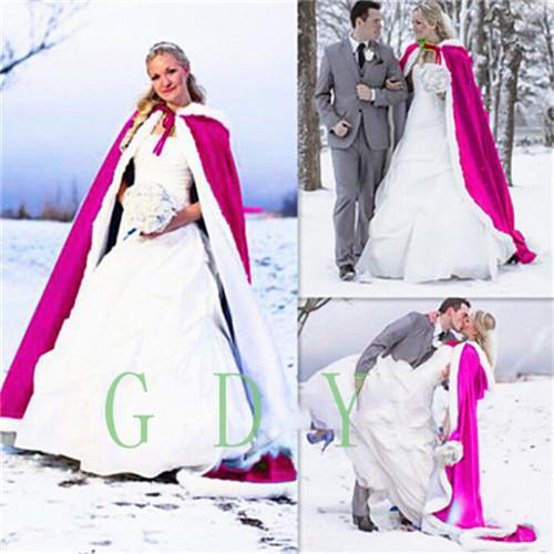 Romantic Real Image Hooded Bridal Cape Long Wedding Cloaks Faux Fur For Winter Wedding Bridal Wraps Bridal Cloak Plus Size