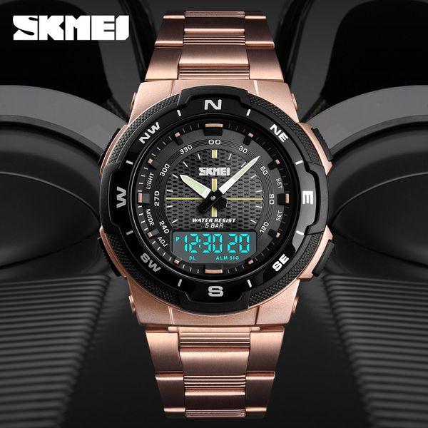 Timmy SKMEI vigilanza della macchina sincrona multi-funzione di tempo doppio orologio elettronico di sport all'aria aperta Gli uomini di fascia d'acciaio di impermeabile