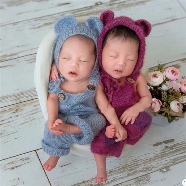 Новорожденный младенец фотографии реквизит мальчик девочка наряды милый медведь шляпа и комбинезон мягкий мохер бебе фото одежда Jumsuit J190522
