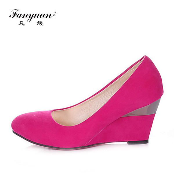 Designer Dress Shoes Fanyuan Branded Designers Ladies High Heels Flock Round Toe Wedge Women Shallow Female's High Pumps Wedding