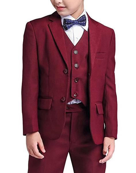 Мальчик костюм Notch отворот на заказ бордовый детский костюм свадьба / выпускной вечер / ужин / досуг / шоу Детский костюм (куртка+брюки+жилет + рубашка + галстук ) M1351