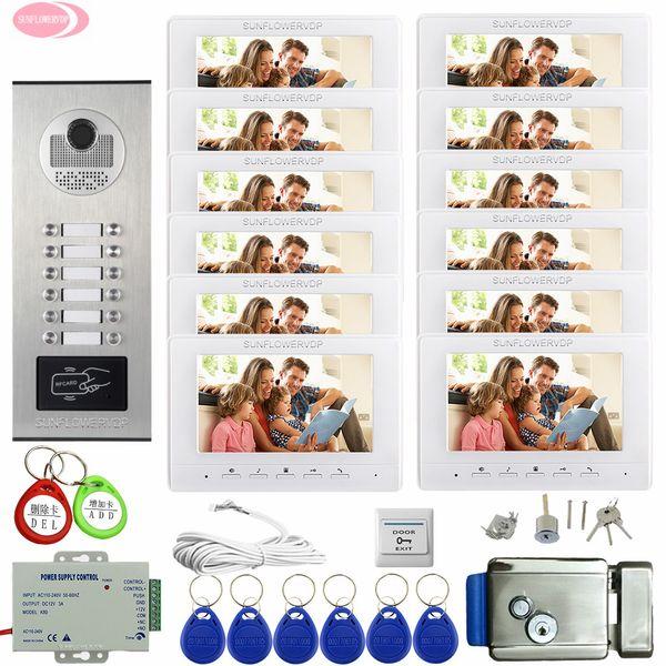Видео домофон домофон 12 квартир 7 дюймов цвет видео домофон жилой безопасности + электронный замок двери домашний телефон