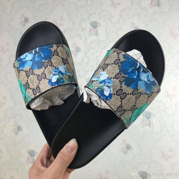 Cheap Luxury Designer Mens Womens Summer Sandals Beach Slide Luxury Slippers Ladies Designer Shoes Print Leather Flowers Bee 36-46 With Box