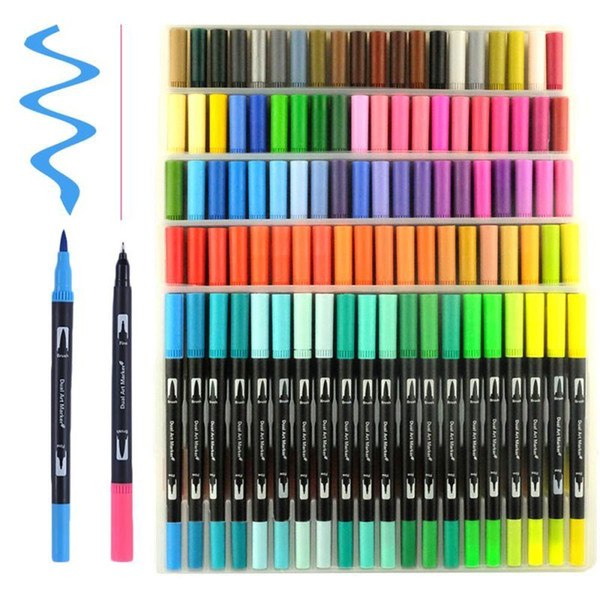 best selling 100 Colors Dual Brush Pen Art Markers, include 2mm brush tip and 0.4mm fine tip for Drawing, Sketching, Painting Water Effect C18112001