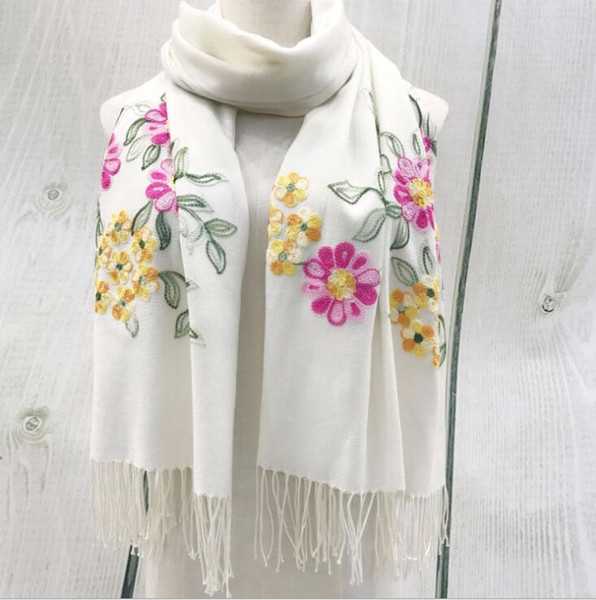 Autumn and Winter Handmade Flower Embroidery Scarf Women Cashmere Wool Shawl Fashion High -grade Gift Shawl free shipping