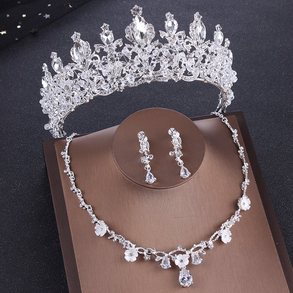 2019 Luxury Silver Crystal Flowers Bridal Jewelry Sets Rhinestone