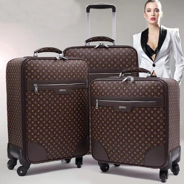 GraspDream классический высокое качество 16/18/20/22/24 дюймов женщины PU прочный прокатки камера Spinner бренд мужчины бизнес-путешествия чемодан