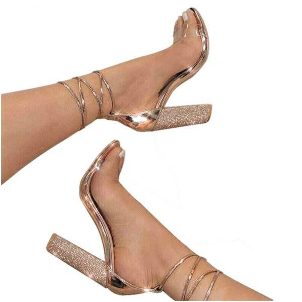 2019 Pvc Jelly Sandals Leopard Open Toed High Heels Sexy Lace-up Cross-tied Women Crystal Sandals Pumps 10cm