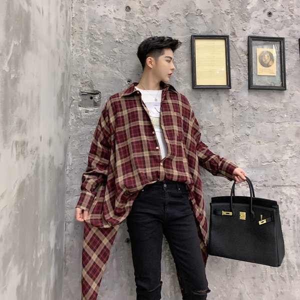 Streetwear Hip Hop Loose Shirt Vintage Men Asymmetric Design Shirt Casual Plaid Male Long Sleeve Couple Dancer Clothing
