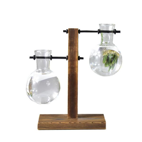 Vaso di decorazione di vetro di stile vintage Desktop Desktop Bonsai fiore Vaso con vassoio di forma L / T in legno Home Decor Accessori