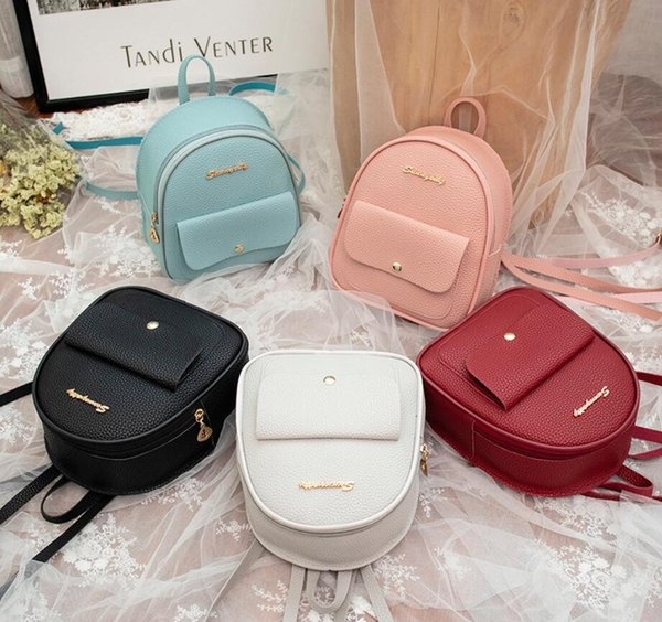 Fashion Mini Backpack Women Girl Pure Color Bag Shoulder Cross Body PU Leather Bags Charm Acces