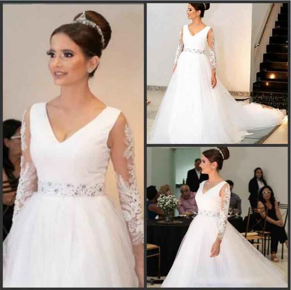 Plus Size Wedding Dresses With Sash Beaded long sleeves Appliqued Tulle Floor Length Custom MAde Sexy V NEck Beach Wedding Dress