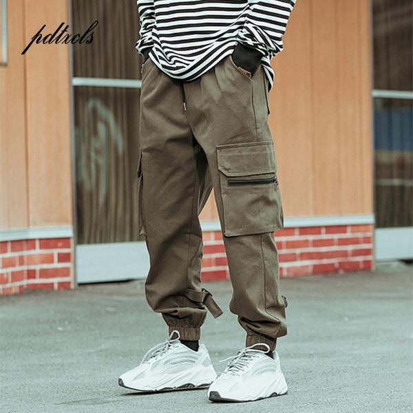 Nuevo Harajuku Cotton Multi-Pockets Safari Estilo Moda Pantalones cargo Hombres Otoño Hip Hop Streetwear Casual Pantalones elásticos