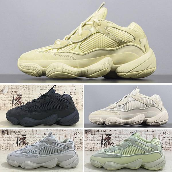 Adidas Yeezy 500 Desert Rat 2019T 2019 Kanye West 500 Homens Mulheres Tênis De Corrida Com Caixa De Sal Preto Super Lua Amarelo Sapatos de Grife Desert Rat 500 Tênis Esportivos
