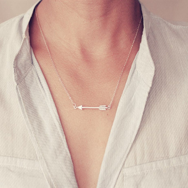 Women Arrow Necklace Jewelry Sideways Arrow Necklaces for Women and Girls Simple Dainty Choker Necklace