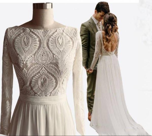 2019 уникальный дизайн кружева чешские свадебные платья с длинными рукавами с открытой спиной линии шифон лето Boho шикарный деревенский реальные изображения свадебные платья