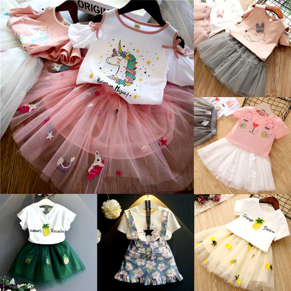 Mädchen-Kleidungs-Sätze 2019 Hochwertige Sommer-Art-Kinderkleidungs-Sätze Sleeveless weißes T-Shirt + rosafarbener Pants2Pc Kind-Mädchen-Anzug