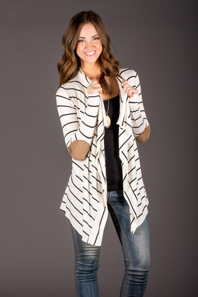 Herbst gestreifte Frauen Strickjacke Langarm Ellenbogen Patchwork gestrickte Pullover Streifen Baumwoll Strickjacke Weiß Lange Frauen Tops