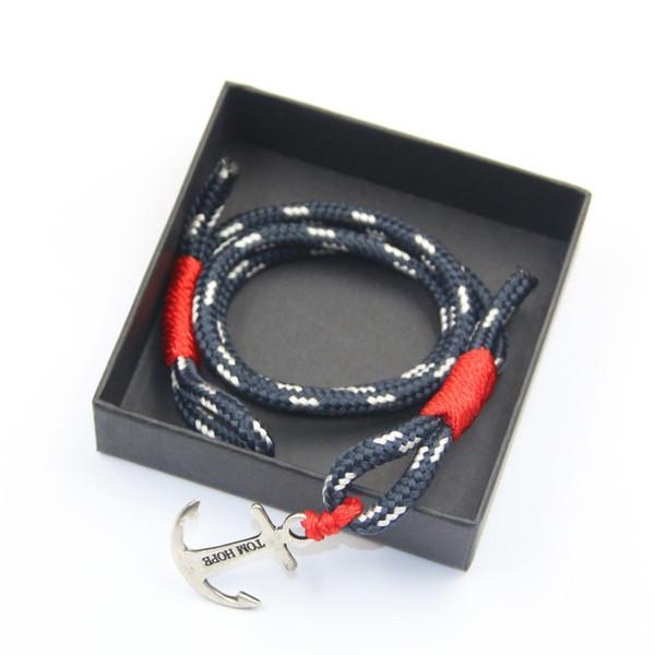 Tom Hope pulseira 4 tamanho Atlântico 3 cadeias de fio vermelho pulseira de aço inoxidável âncora encantos pulseira com caixa e tag