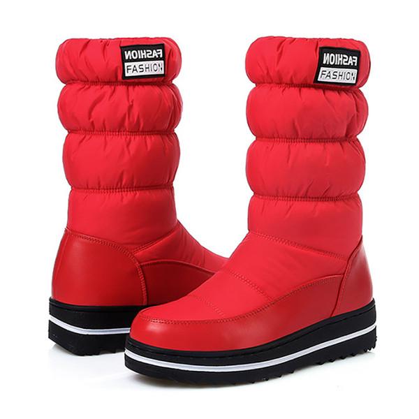 Botas impermeáveis meio da perna LAKESHI Quente botas de inverno por Mulheres Platform Neve Mulheres Winter Shoes Moda Feminina Sapatinho