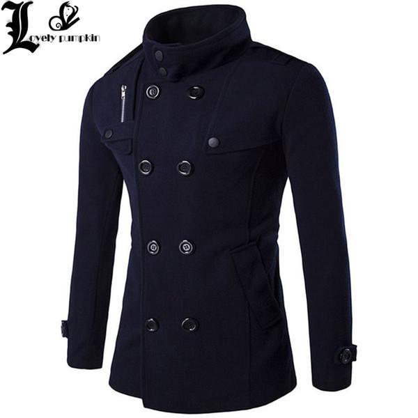 medium long trench coat men overcoat winter jacket men 2018 windbreaker thick solid black trench coat english style costume