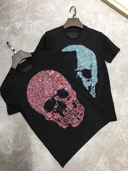 2019 Summer Mens 100% Cotton T-Shirts Middle East Rhinestone Print Brand Clothing Man's Short Sleeve Slim T Shirts Male Tops 83001