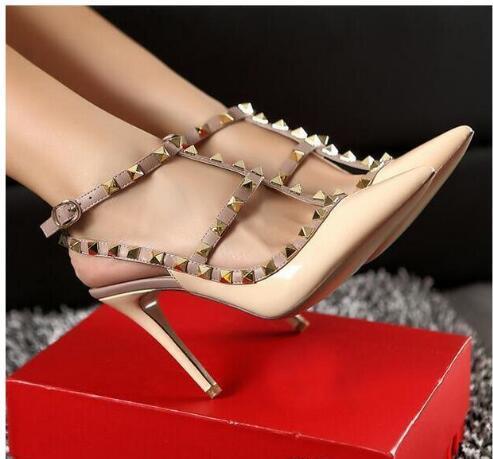 2019 Tasarımcı Sivri Burun 2-Strap ile Çiviler yüksek topuklu Patent Deri perçinler Sandalet Kadınlar Çivili Strappy Elbise Ayakkabı sevgililer boyutu 35-43