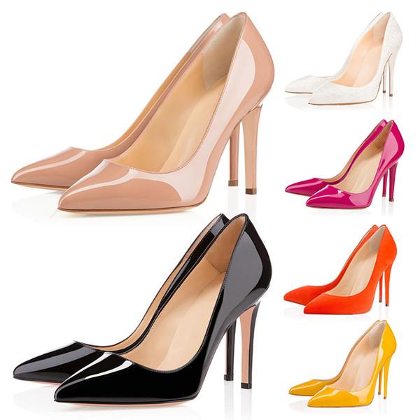 Kırmızı Dipleri Lüks Tasarımcı Yüksek Topuklu Yuvarlak Sivri Burun Pompaları Kadınlar Düğün Elbise Ayakkabı 35-42 8 CM 10 CM 12 CM Toptan Bırak Gemi