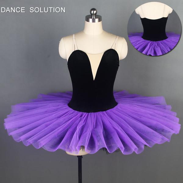Preto corpete de veludo com tule roxo escuro pré-profissional ballet tutu menina mulheres stage bailarina dança traje de dança dress