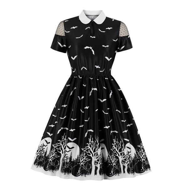 Os trajes de Halloween venda quente impressa mulheres designer vestido bat impressão vestidos de mangas curtas curta partido para mulheres preto roupa
