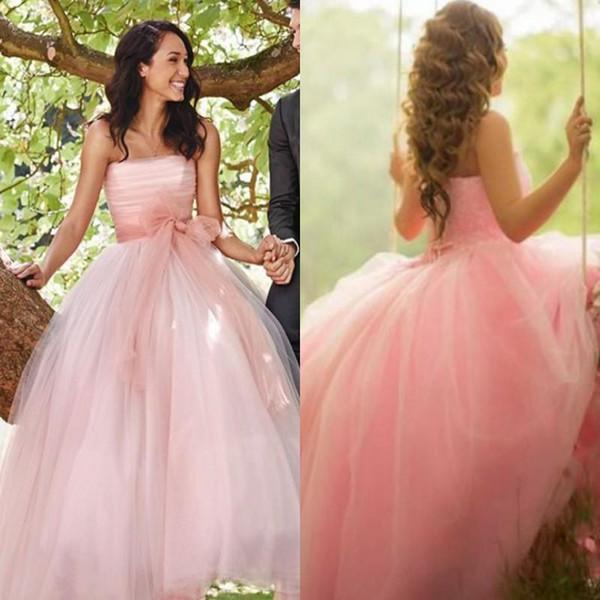Свадебные платья без бретелек 2019 A Line Тюль весна-лето свадебные платья с застежкой-молнией назад Sweet 16 платье