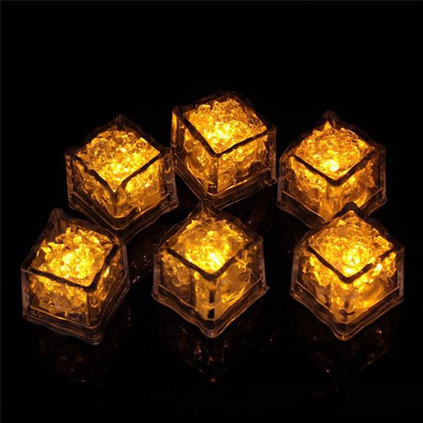 36 pcs brilho branco de luz LED cubos de gelo, multi cores amarelo do partido DIY flash luminoso de indução de luz para Bar Beer