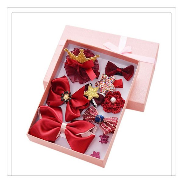 Beautiful Girls Hair Clips Set Bowknot Crown Hair Barrette Hairpin Hair Accessories For Toddles Gift Box 10 Pcs