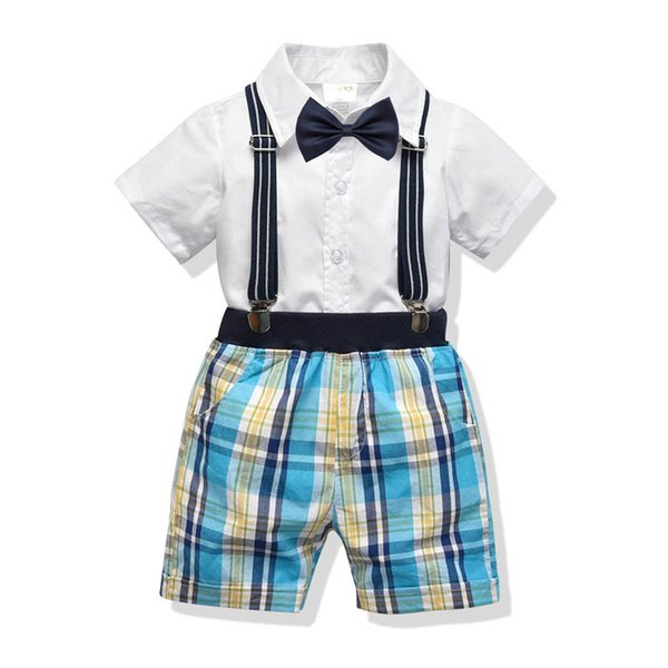 2019 new kids designer clothes boys Clothing Sets Boys Suits Fashion Summer shirt+ suspender trousers shorts Kids Sets kids clothes A4133