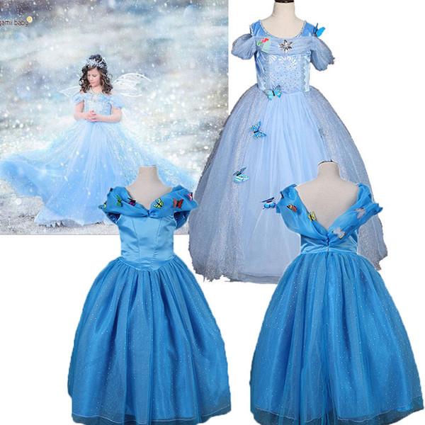 Baby Mädchen Kind Kinder Party Hochzeit Prinzessin Cosplay Kleid Schmetterling Paillette Cinderella Kleid 6 schichten Halloween coaplay kostüme M183