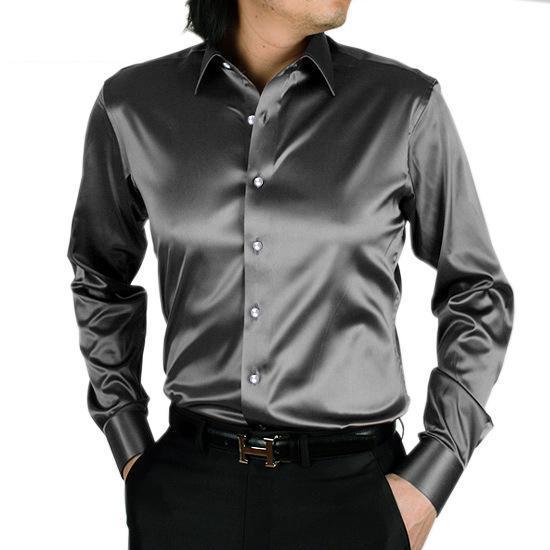 De seda para hombre de las camisas ocasionales sólido de manga larga vestido de novia de seda artificial Shirts Hombres cómodo suave brillo seda de la manera Camisa Camisa TS-143