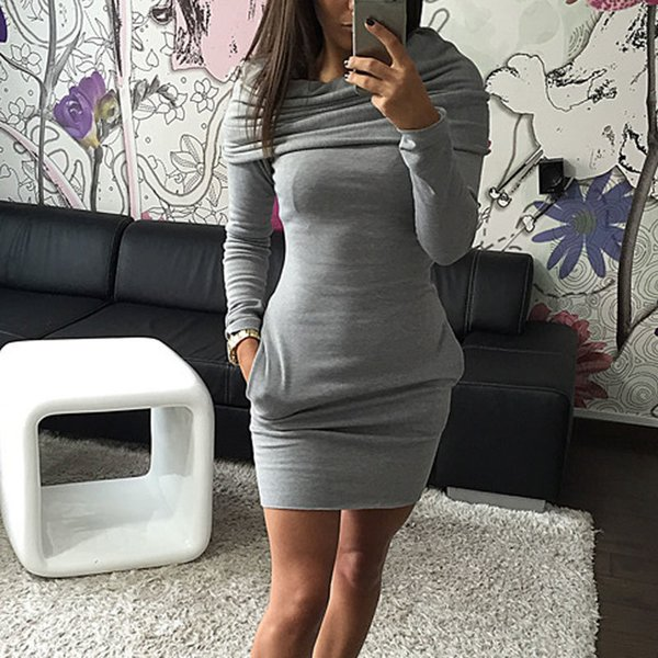 Fashion Autumn Winter Women Sexy Dress With Hat Solid Color Long Sleeve Pocket Keep Warm Ladies Girl Casual Dresses -mx8 Y19012201