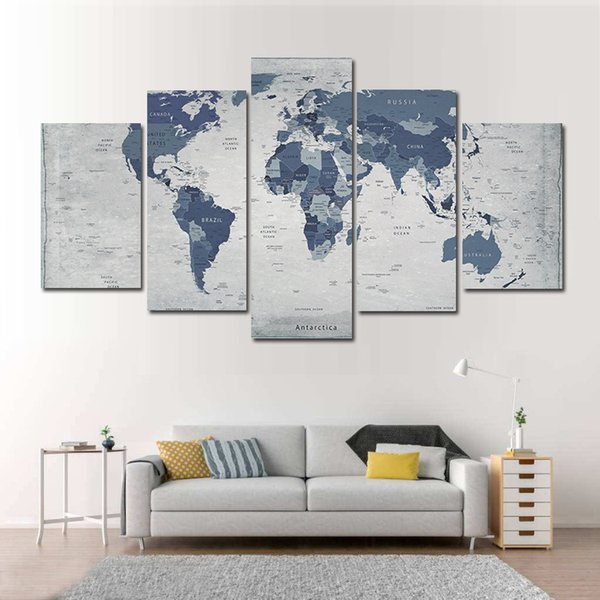 5 Pcs Combinations HD Cool World Map Pattern Unframed Canvas Painting Wall Decoration Printed Painting poster
