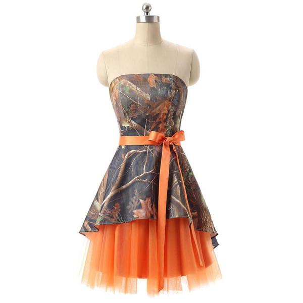 Kokteyl Gerçek Fotoğraflar kızın A-Line Kısa Camo Tül Homecoming Elbise Straplez Diz Boyu Lace Up Mezuniyet Elbiseleri Balo Parti için