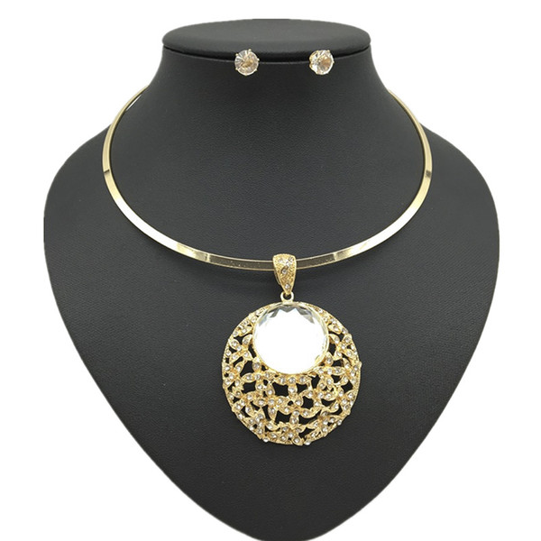 Liffly Fashion Jewelry Sets Gold/Silver Necklace Pendants for Women Crystal Earring Charm New Year Gifts African Jewelry Set