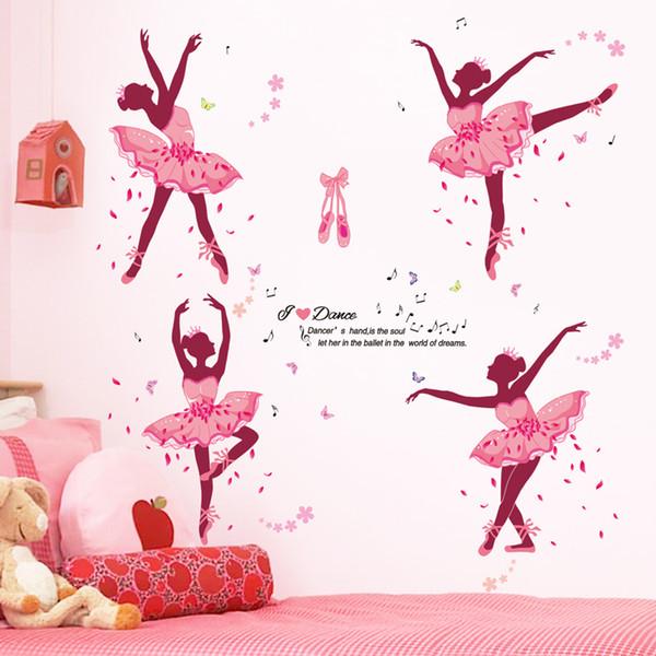 All Sticker Decor SHIJUEHEZI Ballerina Girl Wall Stickers Decorative DIY  Cartoon Dancers Mural Decals For Kids Rooms Baby Bedroom Decor...  Decorating ...
