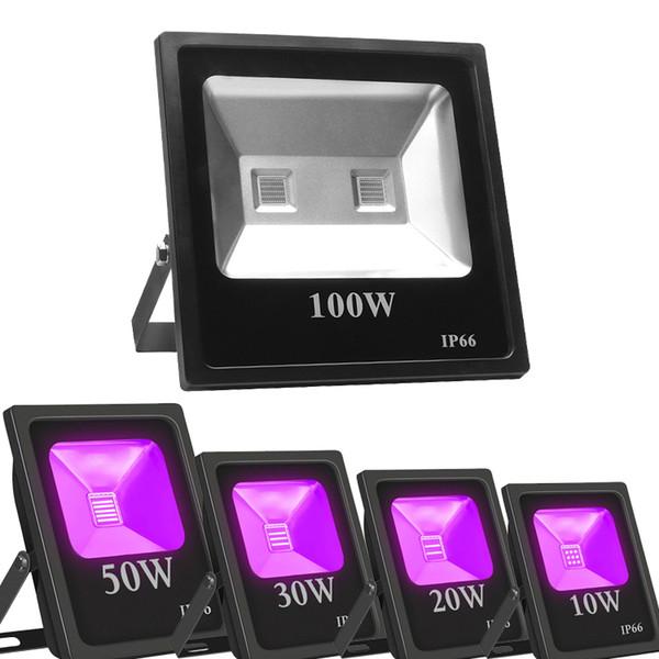 PIR Yüksek Güç UVA LED FLOODLIGHT IP66 Açık Su geçirmez Ultraviyole Taşkın Işık, Karanlıkta Floresan Poster Glow için 395nm