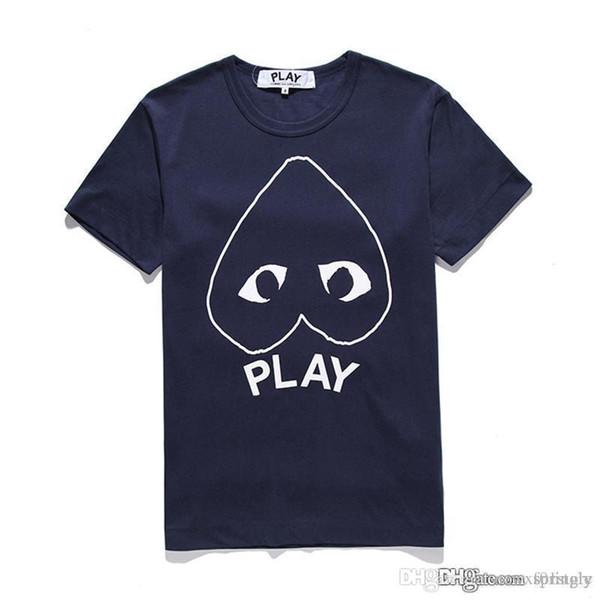 2018 COM Best Quality CDG Classic TEE brand new Black Men Play T-shirt White Short Sleeve Tops M Size Men's Japan GARCONS Casual Shirts