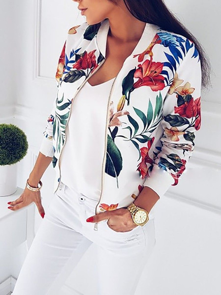 Femmes Veste De Mode Dames Rétro Floral Zipper Up Bomber Veste Casual Manteau Automne Printemps Outwear Femmes Vêtements